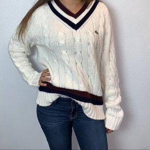 Oversized Cable Knit V-Neck Sweater